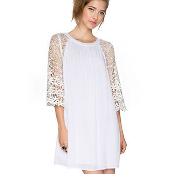 White Sheer Bell Sleeved Round Neckline Mini Dress
