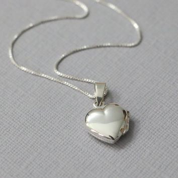 Silver Heart Locket, Locket Necklace, Sterling Silver Heart Locket Necklace