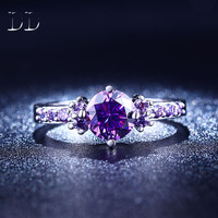 Amethyst engagement rings for women white gold plated purple jewelry wedding trendy bijoux CZ diamond jewelry bague DD199