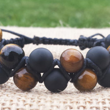 Double Beaded Shambala Bracelet, Mens Shambala Bracelet, Tigereye Black Matte Onyx, Gifts for Him, Cool Men Bracelet