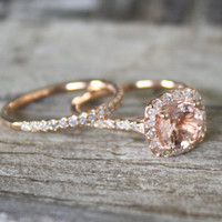 Morganite Engagement Ring Set in 14K Rose Gold Halo Diamond Setting