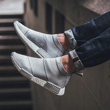 Beauty Ticks Adidas Nmd City Sadidas Nmd City Sock Pk Gray White Stripes Casual Sports Shoesock