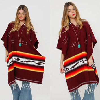Vintage 80s MEXICAN Blanket Poncho Striped SERAPE Poncho Woven Cotton Southwestern Tribal FRINGE Cape