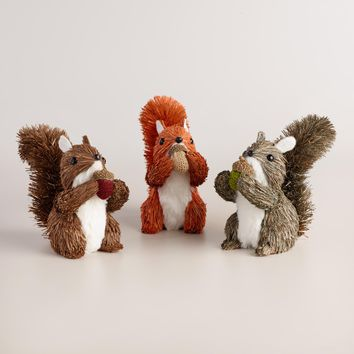 Natural Fiber Squirrels Set of 3