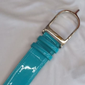 Duftler Spur Belts Turquoise Patent with Silver buckle