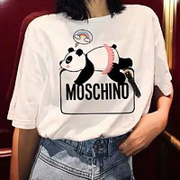 MOSCHINO Newest Women Casual Panda Print Short Sleeve T-Shirt Top White