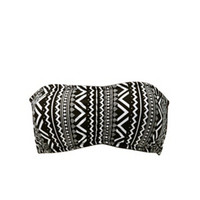 TRIBAL PRINT RUCHED BANDEAU BRA