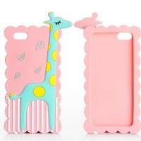 Animal Giraffe Silicone Soft Rubber Case Cover for iPhone 5 5G (Pink)