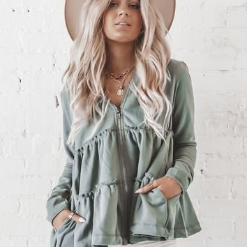 Caught In The Moment Green Tiered Zip Up Jacket