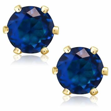 Royal Blue Simulated Sapphire 7mm Round 3.34 Ct Yellow Gold Plated Stud Earrings