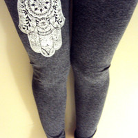 Paisley Hamsa Leggings Hand of Fatima Charcoal Grey Yoga Fitness Workout Running Tights Meditation Spiritual Pants Women Clothing Fashion