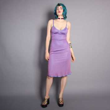 90s BETSEY JOHNSON DRESS / Bias Cut 2-Tone Purple Fishnet, xs-s