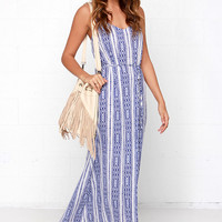 Grecian Isles Cream and Blue Print Maxi Dress