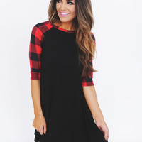 Black/Red Checkered 3/4th Sleeve Dress