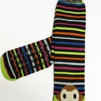 Tubular Monkey Stripe Non-Skid Slipper Socks by K. Bell