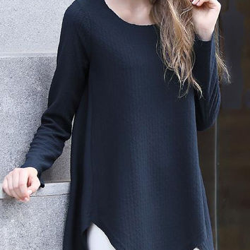 Blue Long Sleeve Asymmetrical T-Shirt