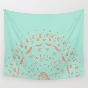 Light Blue & Coral Mandala Wall Tapestry, blue wall tapestry, mandala tapestry, dorm room decor, coral blue tapestry, coral wall tapestry