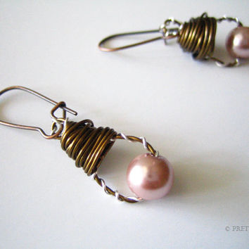 Pink Mixed Metal Wire Wrapped Earrings, Chic Dangle, Unique Style, Pink Pearl Metal Earrings, Copper, Natural Brass and Silver, Prettify,