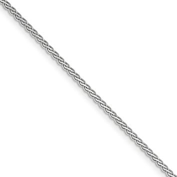 1.8mm, 14k White Gold, Flat Wheat Chain Necklace
