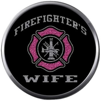 Pink Black Maltese Cross Shield Firefighter Wife Thin Red Line Proud Protect Serve  18MM-20MM Snap Charm New Item
