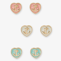 Nautical Heart Stud Set