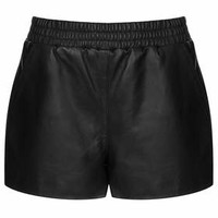 BLACK LEATHER RUNNER SHORTS