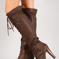 Qupid Puffin-74 Lace Up Knee High Platform Boot