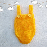 Bright sunshine Knitted baby romper  / Newborn Photo props / knit baby overall
