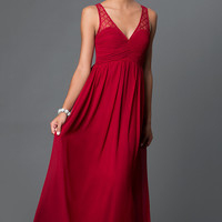 V-Neck Open Back Chiffon Prom Dress