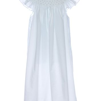 Mom& Me Girls White Smocked Pearl Angel Sleeve Dress