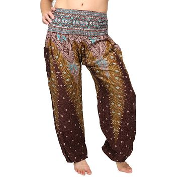 Brown & Yellow Peacock Harem Pants
