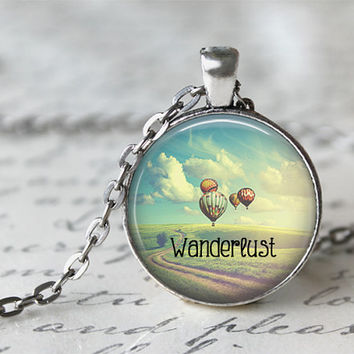 Wanderlust Necklace, Hot Air Balloon Necklace, Gypsy Jewelry