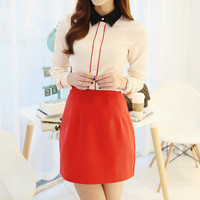 Beige Lapel Collar Shirt with Skirt