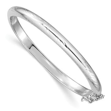 925 Sterling Silver Rhodium-plated Textured with Safety Hinged Child's Bangle Bracelet