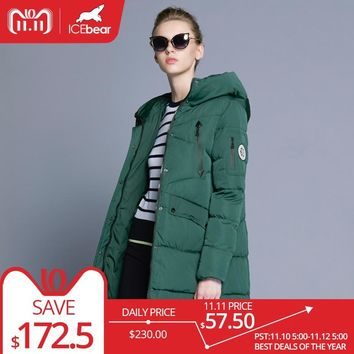 ICEbear 100% Polyester Soft Fabric Bio Down Five Colors Hooded Coat Woman Clothes Winter Jacket With Pockets 16G6155D
