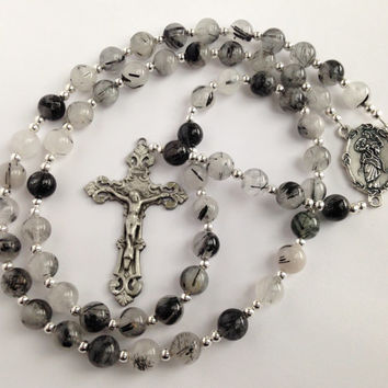 Catholic Rosary Beads, Tourmalinated Quartz Beads, Mary Untier of Knots, Natural Stone Beads, Silver Crucifix, Religious Gift
