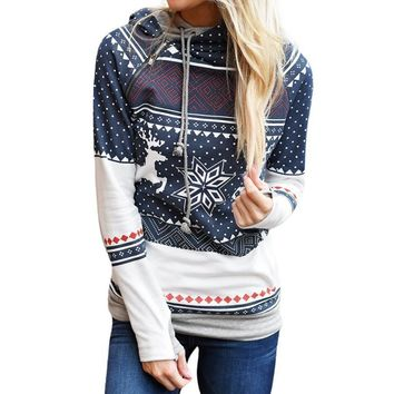 Winter Christmas Snowflakes Hoodie For Women Sweater