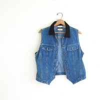 20% OFF SALE Vintage jean vest. denim vest with black velvet collar