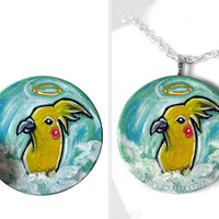 Cockatiel Necklace, Yellow Bird Jewelry, Keepsake Gift for Her, Pet Memorial Angel, Hand Painted Wood Art, Pet Loss, Turquoise Pendant