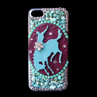 Iphone 5C Phone Case with Western Rodeo Rider, Turquoise and Rhinestones