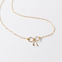 Bow Necklace, 14k Gold Filled Bow Necklace, Bow Necklace, Ribbon Necklace, Tiny Bow Charm, Bridesmaid gift, Gold Bow Necklace