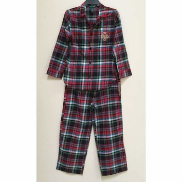 Lauren Ralph Lauren Home For The Holiday Flannel 2PC Pajama Set 819437 L/XL