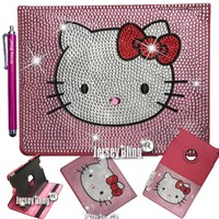 PINK! Kitty Ipad 2,3 OR 4 Crystal & Rhinestone Faux Leather Folio Case with FREE Jersey Bling® Stylus