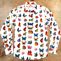 T.R Premium 798 Men`s Butterfly Button Down Shirt