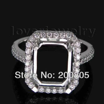18KT White Gold Vintage Emerald Cut 8x10mm Diamond Setting Ring