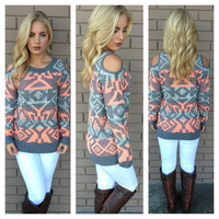 Astrid Open Shoulder Tribal Sweater - CORAL & GREY