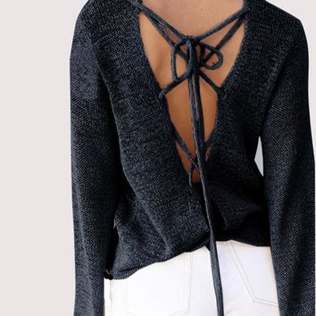 Black Cut Out Tie Back Backless High Neck Pullover Sweater
