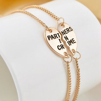 2Pcs/set Gold Silvery Partners In Crime Hearts Friendship Bracelets Bangles For Couple Best Friend Charm Statement Jewelry Gifts