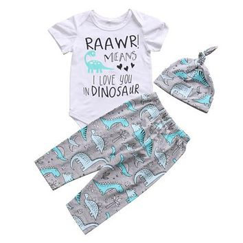 Cute Newborn Baby Boy Clothes Sets Romper Top Long Pants Hat Cotton Outfit Cute Animals Clothing New Baby Boys