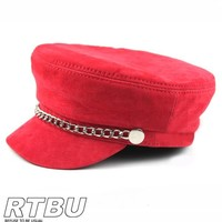 NANA Genuine Suede Leather Punk Goth Police Military Army Hat Cap Chain Cosplay